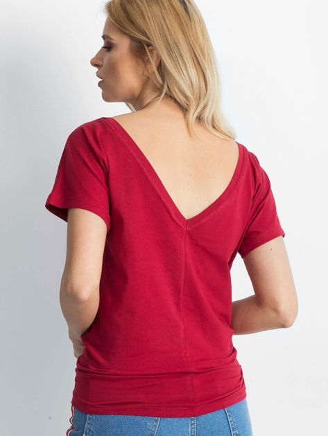Bordowy t-shirt Fire                              zdj.                              3