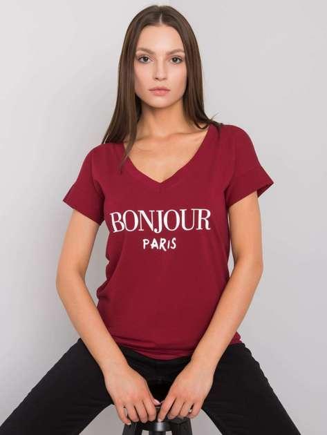 Bordowy t-shirt z napisem Emille