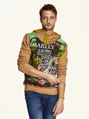 Brązowa bluza męska z kapturem z nadrukiem reggae                                  zdj.                                  1