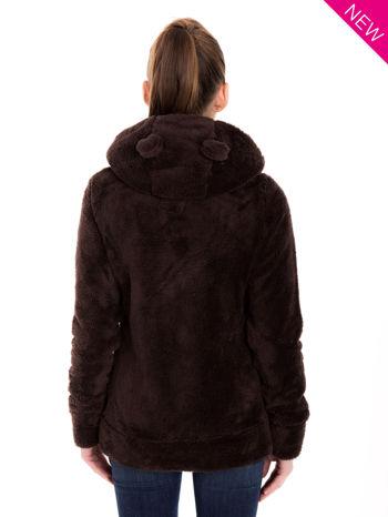 Brązowa bluza polarowa z kapturem z uszkami i pomponami                                  zdj.                                  3