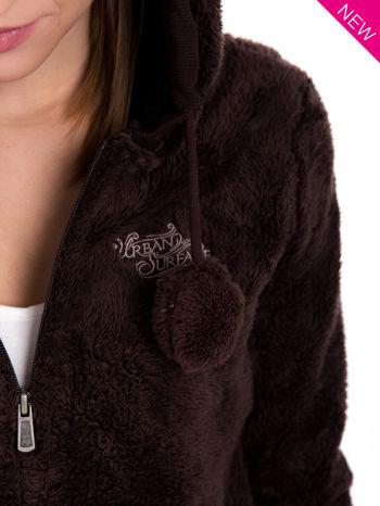 Brązowa bluza polarowa z kapturem z uszkami i pomponami                                  zdj.                                  9