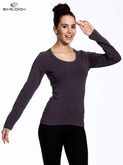 Brązowa bluzka sportowa z dekoltem U                                  zdj.                                  1