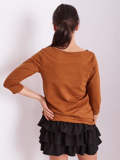 Brązowa bluzka z motywem zwierzęcym                              zdj.                              3