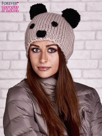 Brązowa czapka panda z uszkami                                  zdj.                                  1