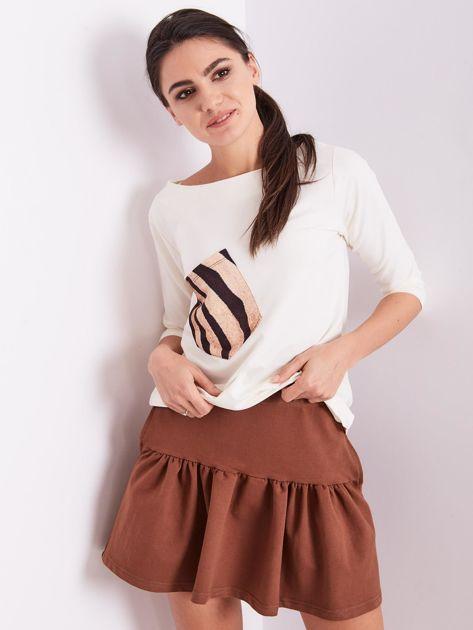 Brązowa dresowa spódnica z falbaną                               zdj.                              6