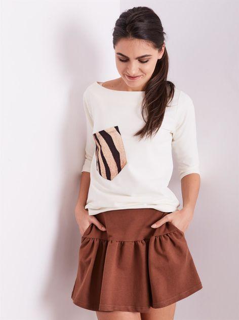 Brązowa dresowa spódnica z falbaną                               zdj.                              7