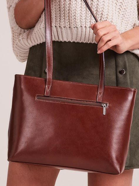 Brązowa elegancka torebka za skóry                              zdj.                              3
