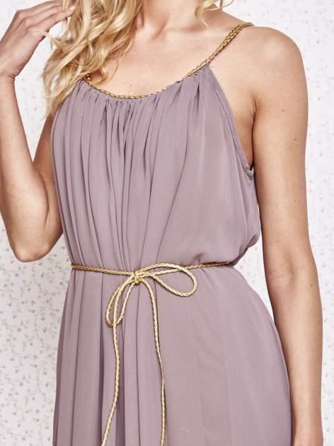 Brązowa grecka sukienka ze złotym paskiem                                  zdj.                                  5