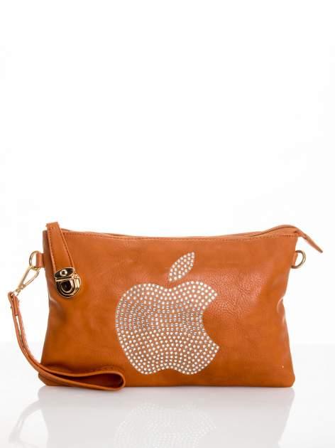 Brązowa kopertówka z dżetami motyw apple                                  zdj.                                  1