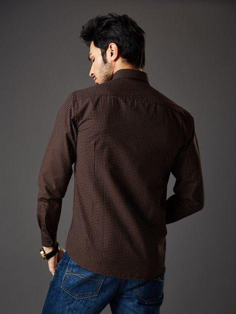 Brązowa koszula męska w kropki regular fit                              zdj.                              2