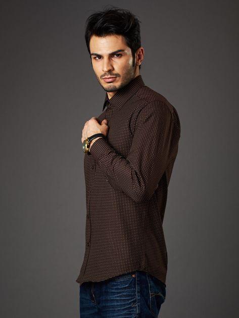 Brązowa koszula męska w kropki regular fit                              zdj.                              3