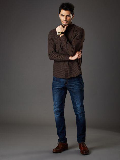 Brązowa koszula męska w kropki regular fit                              zdj.                              4