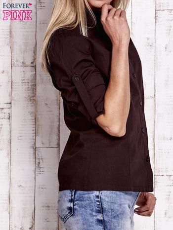 Brązowa koszula z podwijanymi rękawami                                  zdj.                                  5