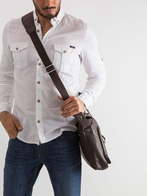 Brązowa męska torba z odpinanym paskiem                              zdj.                              3