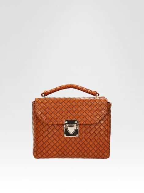 Brązowa pikowana mini torebka kuferek w stylu retro                                  zdj.                                  1