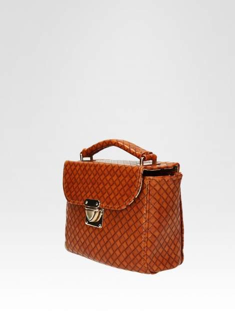 Brązowa pikowana mini torebka kuferek w stylu retro                                  zdj.                                  3