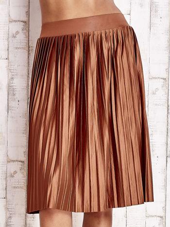 Brązowa plisowana spódnica midi                                  zdj.                                  1