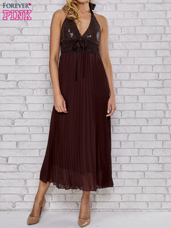 Brązowa plisowana sukienka maxi wiązana na plecach                                  zdj.                                  1