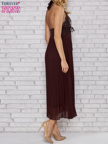 Brązowa plisowana sukienka maxi wiązana na plecach                                  zdj.                                  5