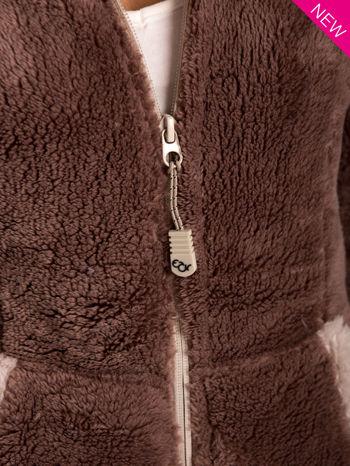Brązowa polarowa bluza miś z kapturem z uszkami                                  zdj.                                  6