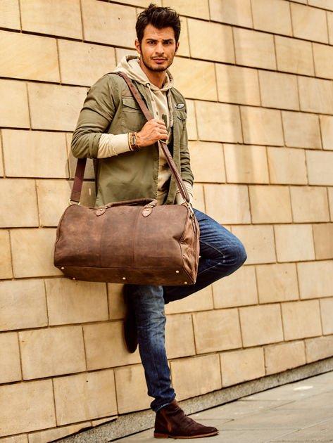 Brązowa skórzana męska torba podróżna                              zdj.                              4