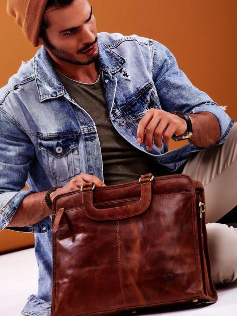 Brązowa skórzana torba męska do ręki                              zdj.                              5