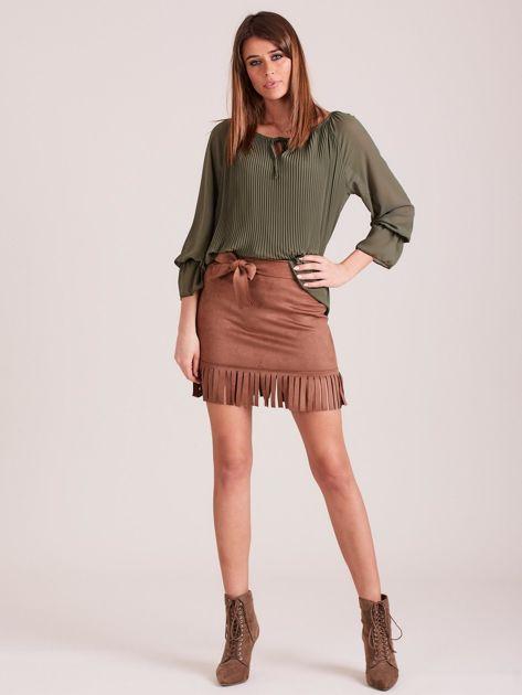 Brązowa spódnica z frędzlami                              zdj.                              4