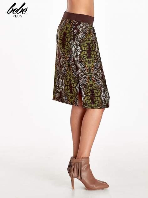Brązowa spódnica z nadrukiem ornamentowym                                  zdj.                                  3
