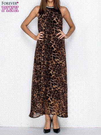 Brązowa sukienka maxi w panterę z biżuteryjnym dekoltem                                  zdj.                                  1