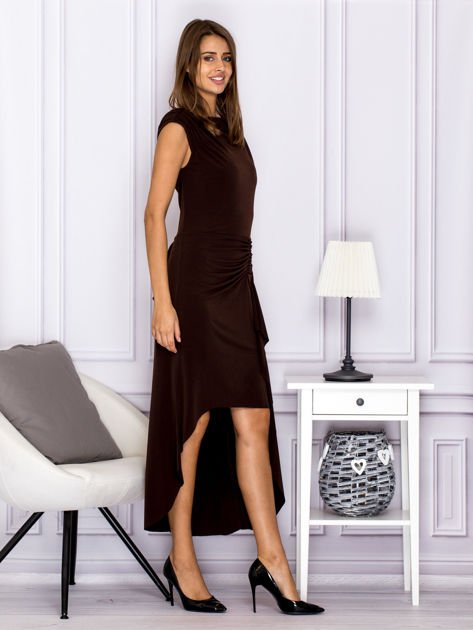 Brązowa sukienka maxi z dłuższym tyłem                                  zdj.                                  3