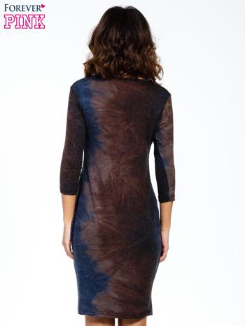 Brązowa sukienka z rękawem 3/4                                  zdj.                                  4