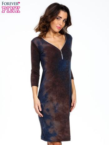 Brązowa sukienka z rękawem 3/4                                  zdj.                                  1