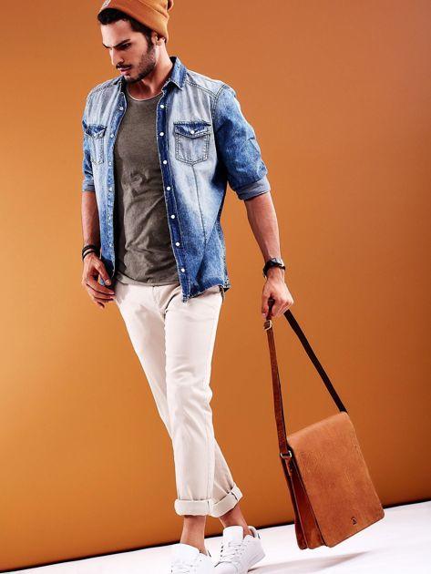 Brązowa torba męska na ramię ze skóry naturalnej                              zdj.                              2