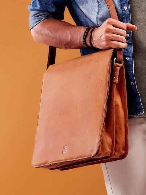 Brązowa torba męska na ramię ze skóry naturalnej                              zdj.                              4