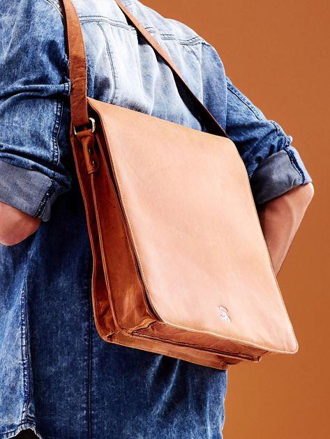 Brązowa torba męska na ramię ze skóry naturalnej                              zdj.                              6