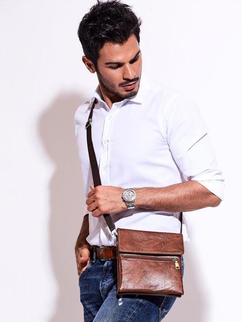 Brązowa torba męska z kieszonką na suwak                              zdj.                              1