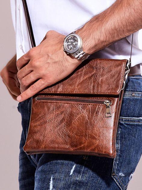 Brązowa torba męska z kieszonką na suwak                              zdj.                              2