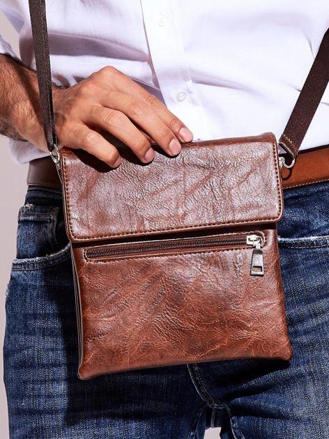Brązowa torba męska z kieszonką na suwak                              zdj.                              4