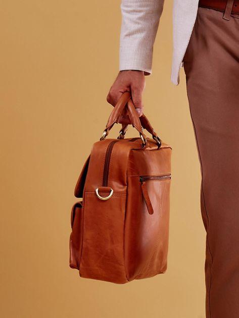 Brązowa torba męska z odpinanym paskiem                              zdj.                              3