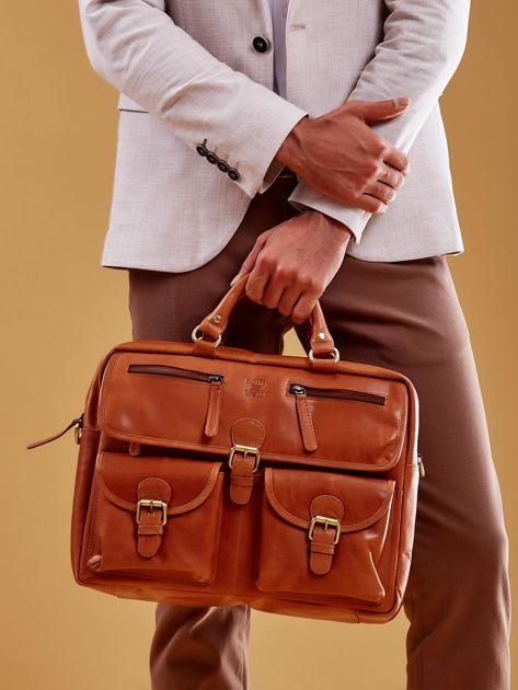 Brązowa torba męska z odpinanym paskiem                              zdj.                              5