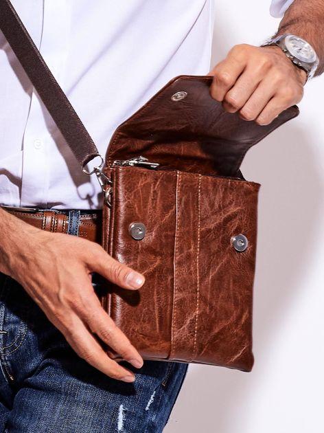 Brązowa torba męska z odpinanym paskiem                              zdj.                              2