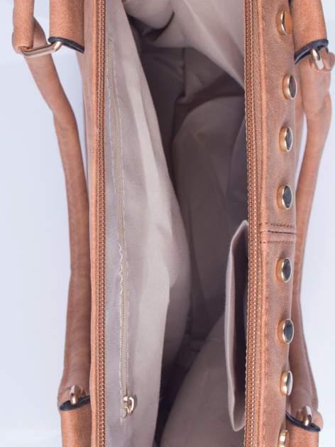 Brązowa torba shopper bag ze złotymi ćwiekami                                  zdj.                                  4