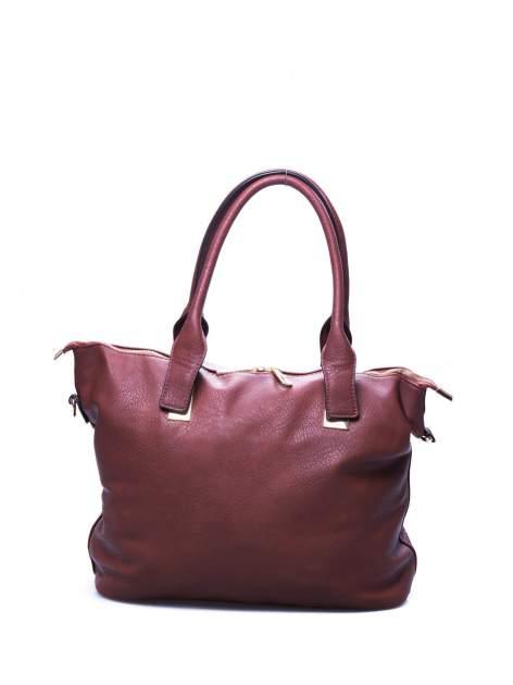 Brązowa torba shopper bag ze złotymi detalami