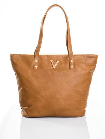 Brązowa torba ze złotym detalem                                  zdj.                                  4