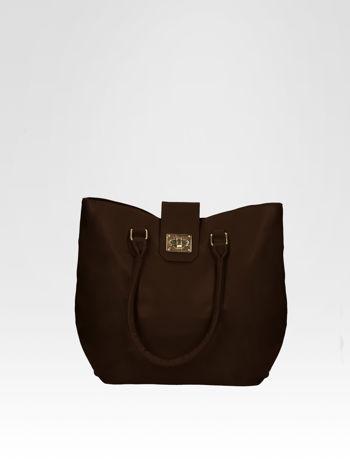 Brązowa torebka city bag z zatrzaskiem                                  zdj.                                  1