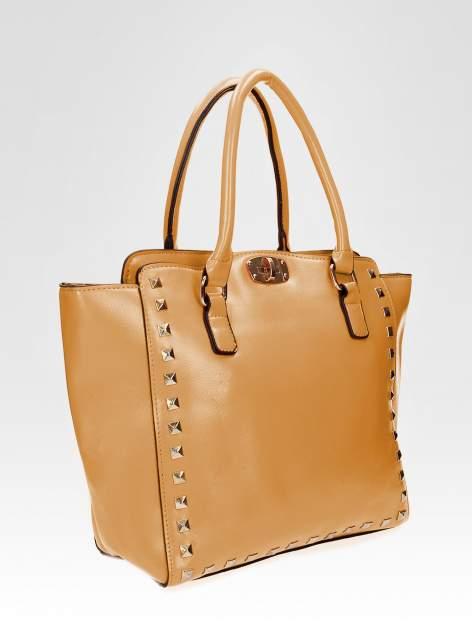 Brązowa torebka na ramię z dżetami                                  zdj.                                  6