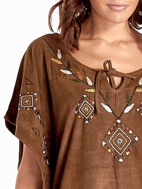 Brązowa zamszowa bluzka z haftem w stylu boho                                  zdj.                                  4