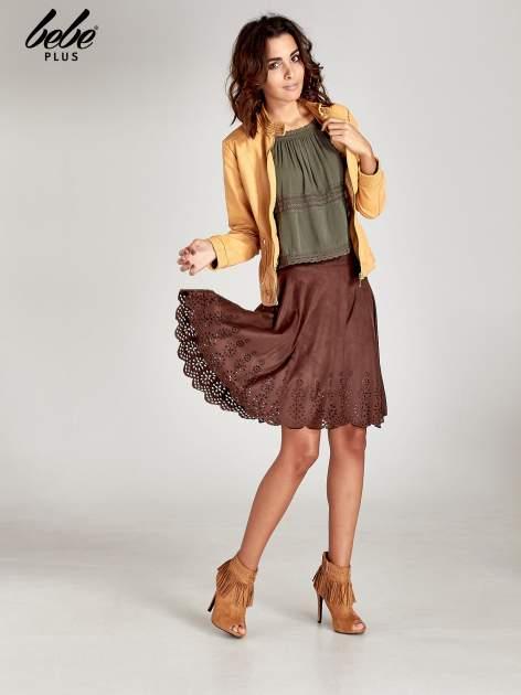 Brązowa zamszowa spódnica w stylu boho                                  zdj.                                  7
