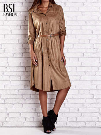 Brązowa zamszowa sukienka z rozcięciami po bokach                                  zdj.                                  1