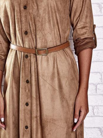 Brązowa zamszowa sukienka z rozcięciami po bokach                                  zdj.                                  6